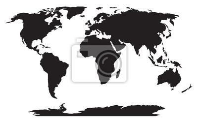 Bild: World map black silhouette vector
