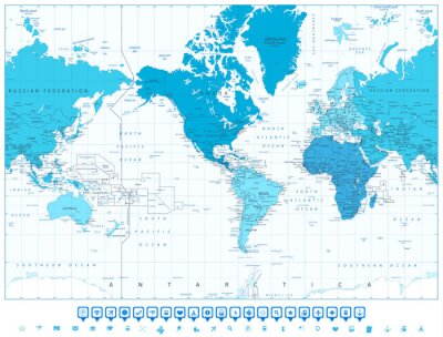 World map continents in colors of blue america in center and ...