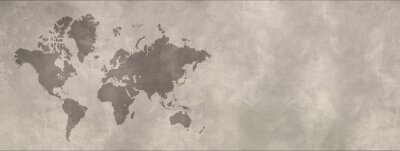 Bild World map on concrete wall background. Horizontal banner