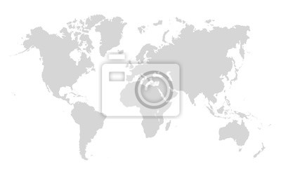 Bild World map on white background. World map template with continents, North and South America, Europe and Asia, Africa and Australia