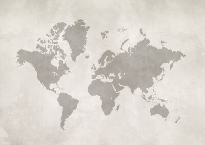 Bild World map on white concrete wall background
