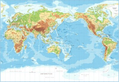 Bild World Map - Pacific View - Physical Topographic - Vector Detailed Illustration