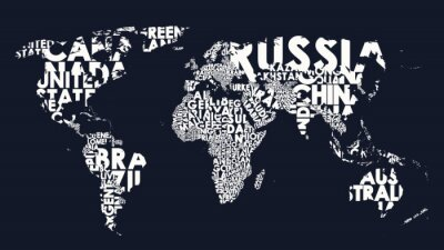 Bild World map text composition of country names, typographical black and white vector illustration