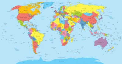 Bild World map with countries, country and city names
