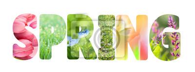 Bild Wort-Frühling mit bunten Naturbildern innerhalb der Buchstaben,
