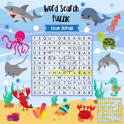 Wörter suchen puzzle-spiel von ozean tiere für vorschule kinder ...