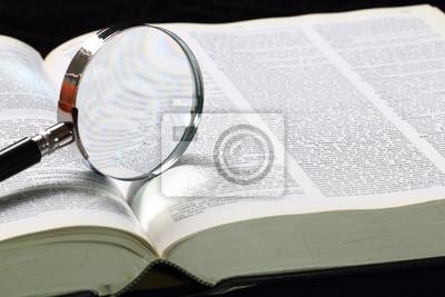 Bild Wörterbuch und Lupe