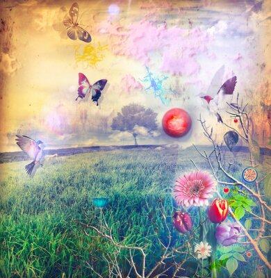 Wunderland mit bunten Blumen