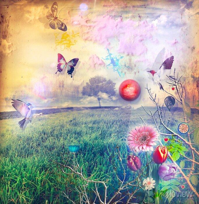Bild Wunderland mit bunten Blumen