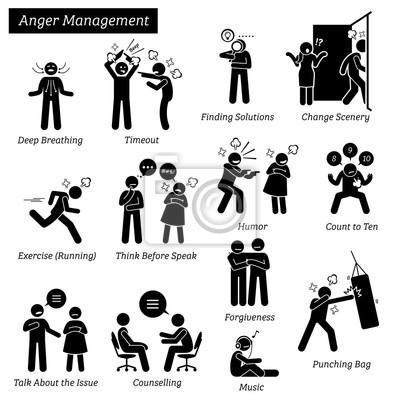 Wut-management-strichmännchen-piktogramm-ikonen. abbildungen ...