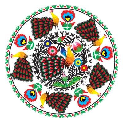 Bild wzór ludowy z kwiatami i pawiem, łowicki