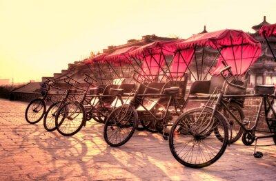 Bild Xi'an / China - Stadtmauer mit Fahrrädern