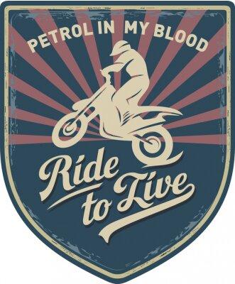 Bild Мотоциклист, Ездить, чтобы жить, Бензин в моей крови, мотоцикл, Мотокросс, нашивка, иллюстрация