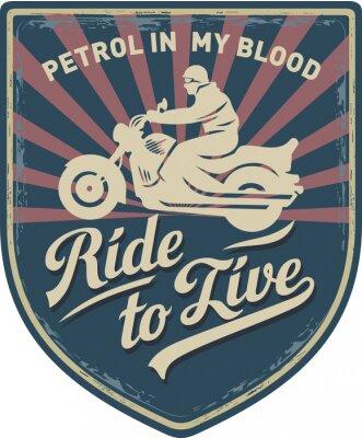 Bild Мотоциклист, Ездить, чтобы жить, Бензин в моей крови, мотоцикл, Спорт, нашивка, иллюстрация