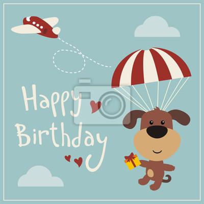 Alles Gute Zum Geburtstag Lustige Welpen Hund Fliegen Auf