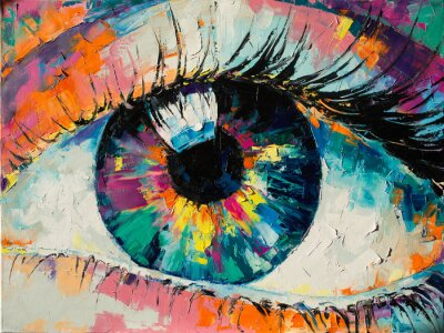 """Bild """"Fluorite"""" - oil painting. Conceptual abstract picture of the eye. Oil painting in colorful colors. Conceptual abstract closeup of an oil painting and palette knife on canvas."""