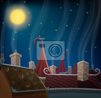 Bild Gebäude Dächer und Schornsteine in der Nacht mit Mond und Sternenhimmel
