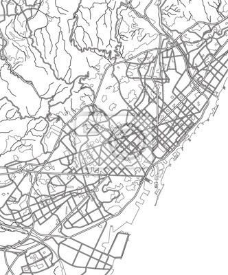 Spanien Karte Schwarz Weiß.Bild Schwarz Weiß Regelung Der Barcelona Spanien Stadtplan Der