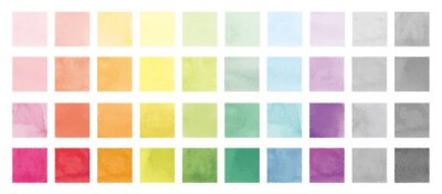 Bild Vector set of rainbow watercolor square shapes. 水彩のベクター四角セット