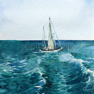 Bild Yacht. Schiff. Meer. Aquarell. Dieses Bild kann als Hintergrund, eigenständiges Objekt, als Dekoration, in Postkarten, Tapeten, Drucken verwendet werden