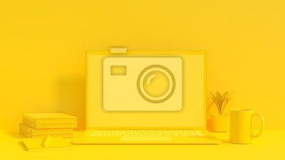 Bild Yellow laptop mock-up for your text and background.