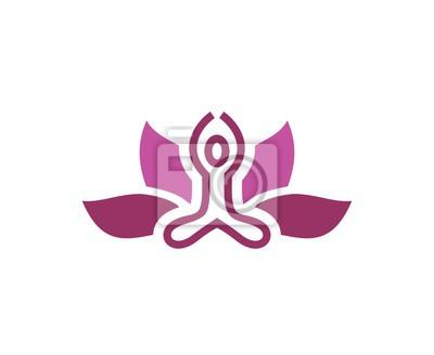 Yoga Zeichen Leinwandbilder Bilder Emblem Lotus Yoga Myloviewde