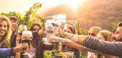 Bild Young friends having fun outdoors - Happy people enjoying harvest time together at farmhouse winery countryside - Youth and friendship concept - Hands toasting red wine glass at vineyard before sunset