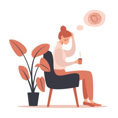 Bild Young woman with headache drinking hot coffee while sitting in chair. Vector illustration isolated from white background
