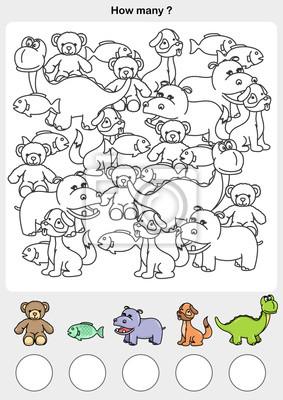 Zahlen Und Malen Farbe Der Tiere Schreiben Sie Die Zahl Im