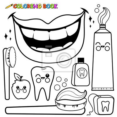 Zahnhygiene-vektor-set. schwarz-weiß-malvorlage leinwandbilder ...