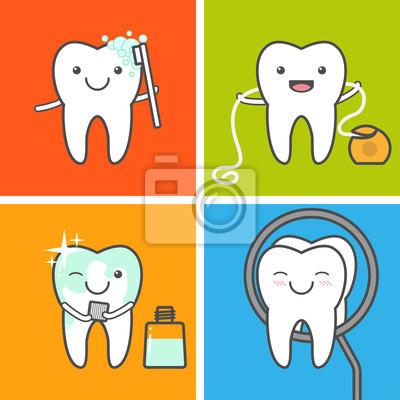 Bild Zahnpflege und Hygiene Vektor-Icons.