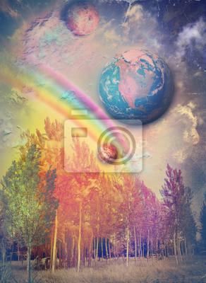 Zauberwald mit Regenbogen