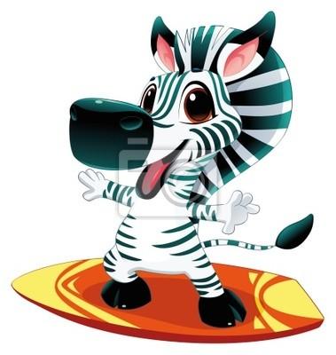 Zebra mit Brandung. Funny Cartoon und Vektor-Zeichen
