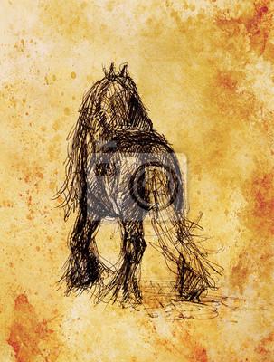Zeichnen Sie Bleistift Pferd Auf Altem Papier Und Alte Vintage