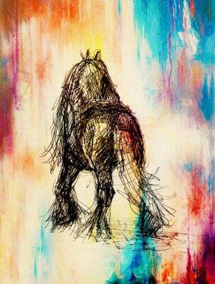 Bild Zeichnen Sie Bleistift Pferd auf altem Papier, Vintage-Papier und alte Struktur mit Farbflecken.