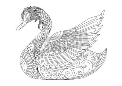 Zeichnung Schwan Für Ausmalbilder T Shirt Design Effekt Logo