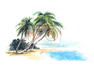 Zeichnung Strand mit Palmen. Vektor-Illustration