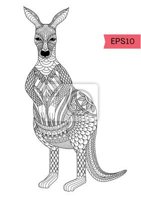 Zeichnung Zentangle Känguru Für Ausmalbilder T Shirt Design Effekt