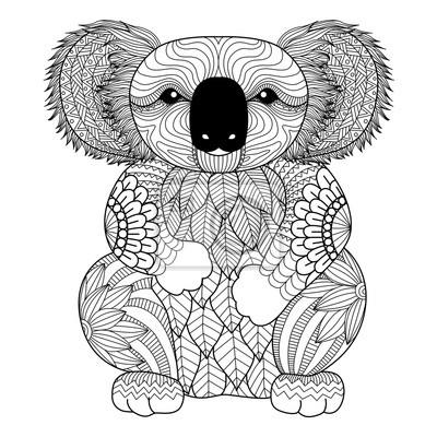 Zeichnung Zentangle Koala Zum Ausmalen Von Seite Shirt Design