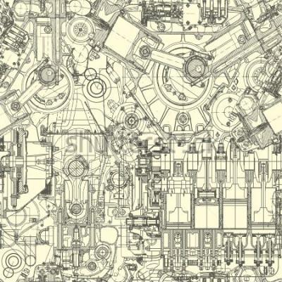 Bild Zeichnungsmotormuster, Hintergrund. Nahtloses Muster kann für Tapete, Musterfüllungen, Webseitenhintergrund, Oberflächenbeschaffenheiten verwendet werden.