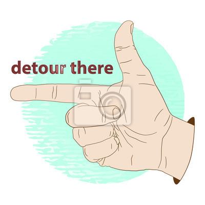 Zeigefinger, Hand Zeigefinger Umweg Zeiger. Vektor-Illustration, Symbol, Logo oder Aufkleber, Elemente für das Design oder Mode-Druck.