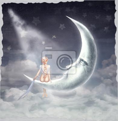Zeit der Wunder und magic.The Abbildung zeigt junge blonde Mädchen sitzt auf dem Mond