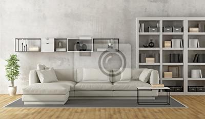 Zeitgenossisches Weisses Wohnzimmer Leinwandbilder Bilder