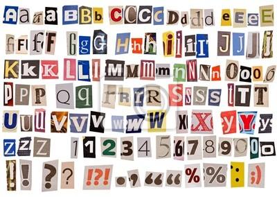 Zeitung Alphabet isoliert