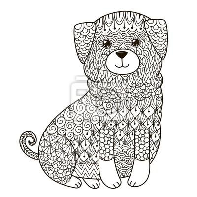 Zentangle Hund Zum Ausmalen T Shirt Design Logo Tattoo Und