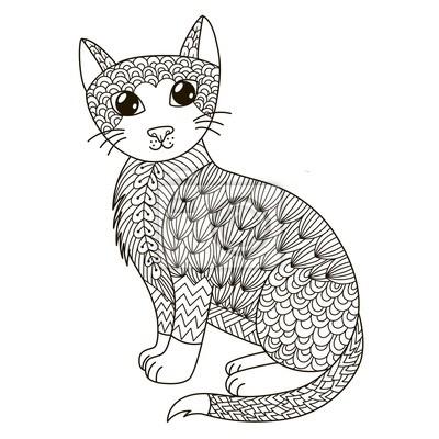 Zentangle Katze Zum Ausmalen T Shirt Design Logo Tattoo Und