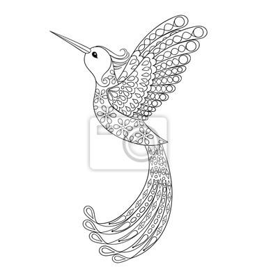 Zentangle Stammes Kolibri Fliegender Vogeltotem Für Erwachsene