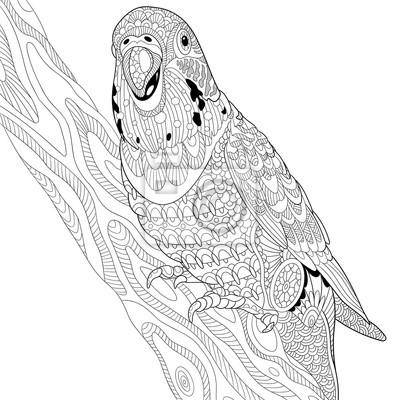 Zentangle Stilisierte Cartoon Budgie Papagei Sitzt Auf Baum Zweig
