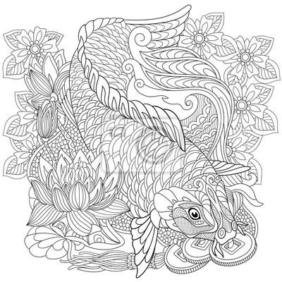 Zentangle stilisierte cartoon koi karpfen, isoliert auf weißem ...