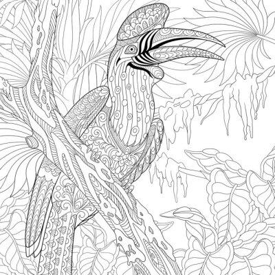 Zentangle stilisierte cartoon-nashorn hornbill vogel (buceros ...